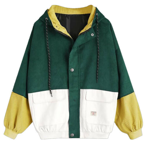 Women Girls Warm Coat Jacket Corduroy Patchwork Oversize Windbreaker Overcoat