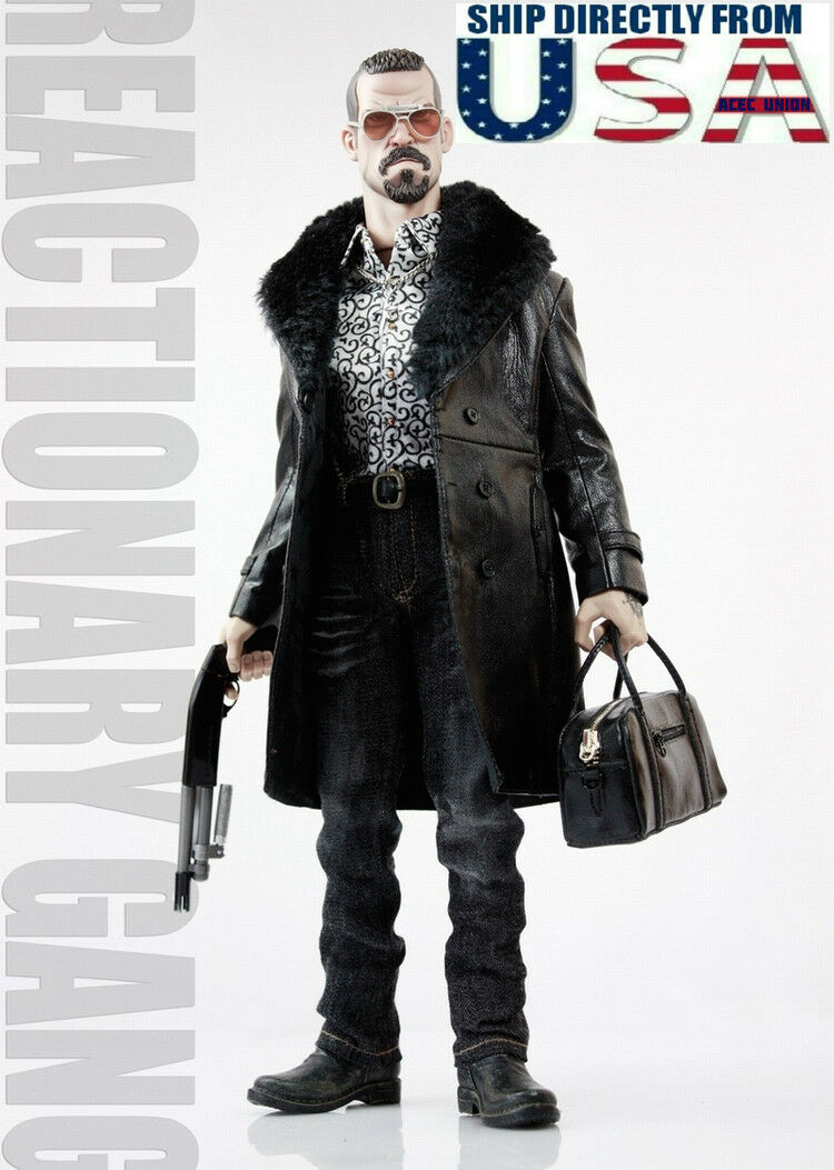 1/6 Gang Style Leder Fur Coat Jeans Set For Mafia Spade 4 Hot Toys Figure USA