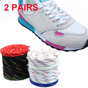 Twill-Flat-Shoe-Laces-Coloured-Trainer-Shoelaces-Shoestrings-Bootlaces-Athletic