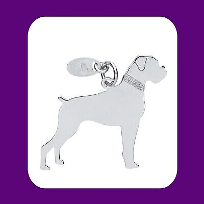"Silver Boxer Dog Pendant Solid Silver 925 Hallmark Pet Jewellery 14-30"" Chain"