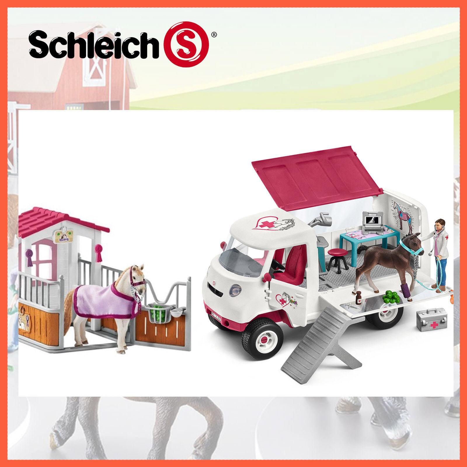 Neue schleich horse club mobile tierarzt klinik + pferd box stand combo 42368 + 42370