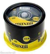 MAXELL CDR 50 Pack Spindle TORTA CON MONTANTE registrabili CD vuoto del PC Laptop - 50 Dischi