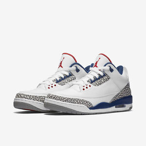 db0189b3158e52 Nike Air Jordan III Retro 3 OG True Blue Size 4-17 White Blue Cement ...