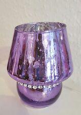 Windlicht Glas / Teelicht / Teelichthalter / edel / Lampe lila Strass