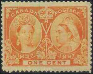 Canada-51-mint-F-VF-OG-NH-1897-Queen-Victoria-1c-orange-Diamond-Jubilee-JUMBO