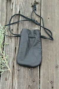 Black-leather-drawstring-pouch-Black-leather-medicine-bag
