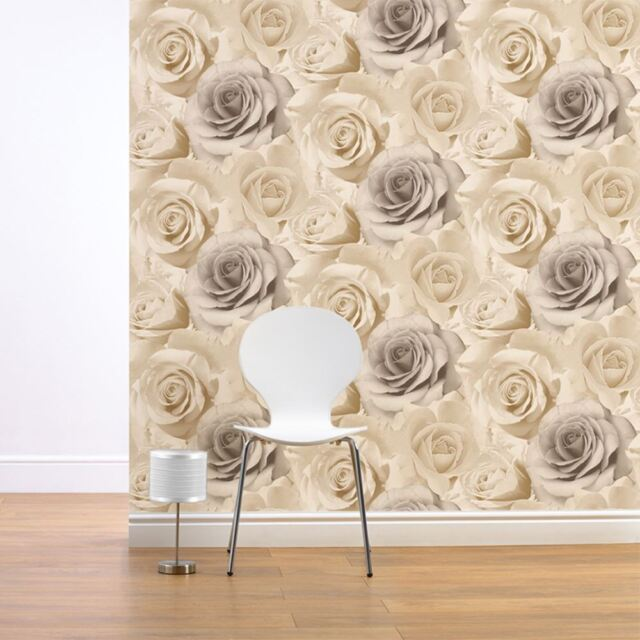 MADISON ROSE FLORAL WALLPAPER NATURAL - MURIVA 119504 FLOWERS