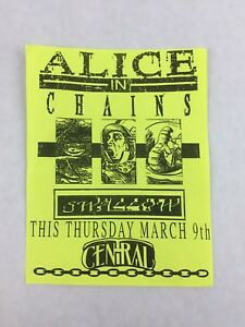 Alice in Chains - The Central Tavern SEATTLE Washington Concert Flyer 4.5 x 5.75