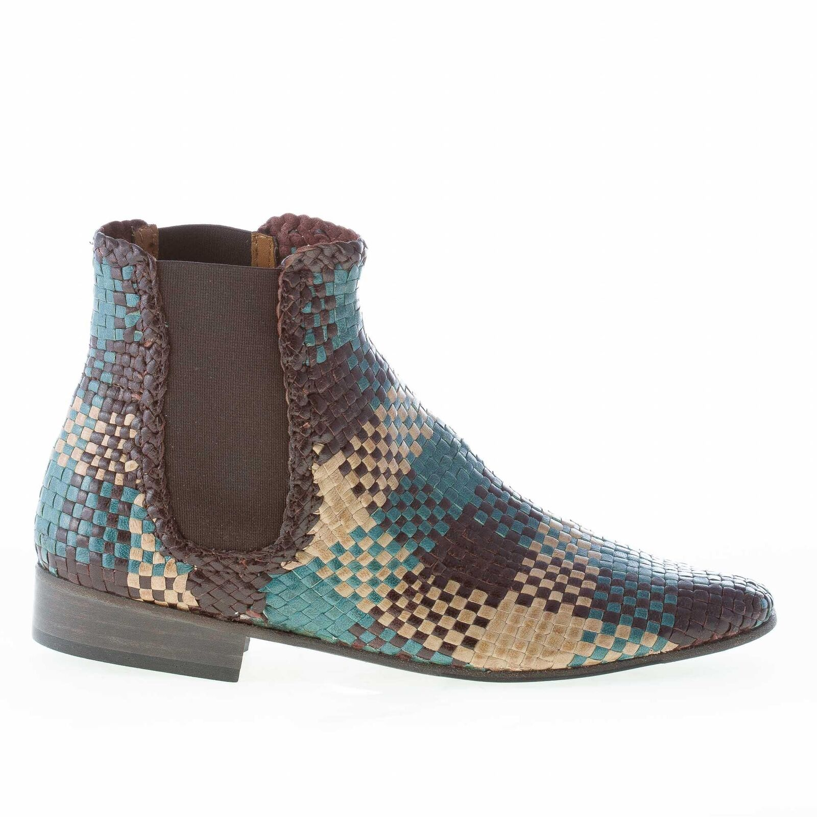 Mos womens multicolor knotted leather ankle boot brown beige green