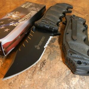 USMC OFFICIALLY LICENSED US MARINES BLACK ASSISTED OPENING TACTICAL KNIFE NEW