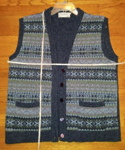 Vert Bleu Gris Gilet Isle Country Mens Collection L Anglais Collection Laine Neuf Fair fHqHXZY