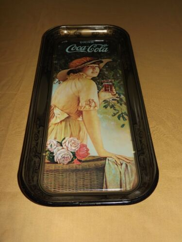 "19"" HIGH METAL DRINK COCA COLA YOUNG GIRL HOLDING GLASS SERVING TRAY"