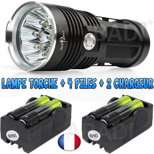 LAMPE-TORCHE-9-LED-25000-LUMENS-LED-CREE-FLASHLIGHT-4-PILE-18650-2-CHARGEUR