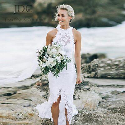 Retro 1950s Kurze Spitze Strand Ballkleid Brautkleider Hochzeitskleid Gr:32--42+