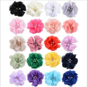 5-20-40PCS-Lots-Chiffon-Ribbon-Flowers-W-Beads-Appliques-Wedding-Decor-Bul