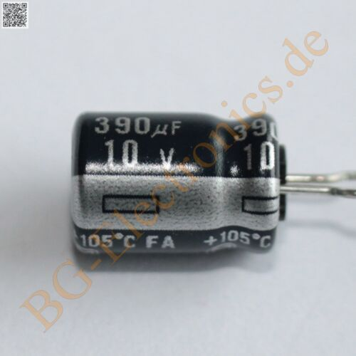 20 x 390µF 390uF 10V 105° RM5 Elko Kondensator Capacitor Rad Panasonic  20pcs