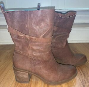 Womens Brown Leather Boots Size 8