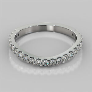 0.35 Ct Round Moissanite Engagement Eternity Band Solid 18K White Gold Ring 6 7