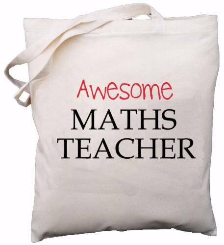 School Gift Awesome Maths Teacher Natural Cotton Shoulder Bag