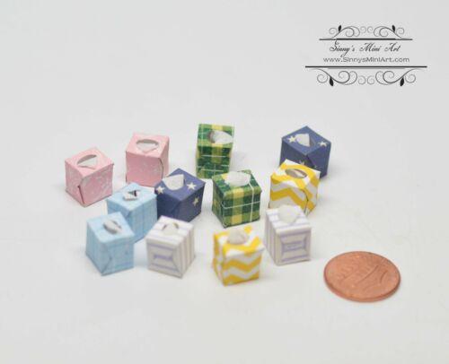 1:12 Dollhouse Miniature Boutique Tissue Boxes 12 pc// Miniatures AZ SH0021