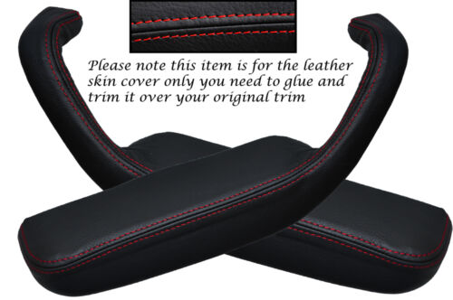 RED STITCH 2X FRONT DOOR HANDLE ARMREST COVERS FITS FORD CAPRI MK3 1978-1987