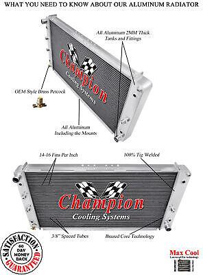 """1955 1956 Ford Fairlane V8 Engine 3 Row Champion SR Radiator w// 16/"""" Fan CC5456HD"""