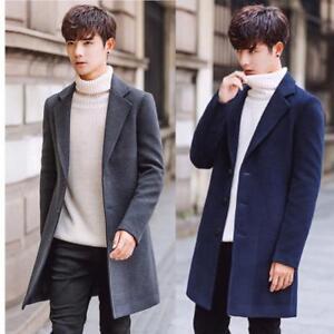 Korean Mens Lapel Slim Trench Coat Long