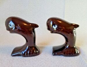 Whale-Brown-Salt-Pepper-Shaker-Ceramic-Figural-Set-Red-Clay-Jumping-Vintage-S-amp-P