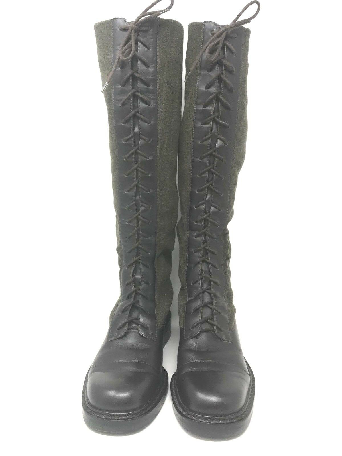 Lauren Ralph Lauren braun Leather and Wool Lace Up 19 Eye Knee High Stiefel 6.5 B