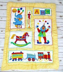 Clown Circus Elephant Block Baby Blanket Crib Quilt Yellow Gingham Vtg Nursery