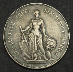 1885-Switzerland-Bern-Large-Silver-5-Francs-Shooting-Thaler-Coin-Damaged-VF