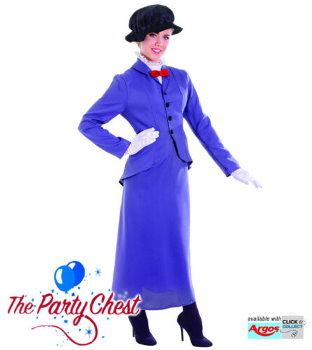 Adulto Vittoriano Inglese Nanny Mary Poppins Fancy Dress Costume ac361