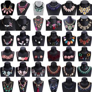 Fashion-Women-Flower-Pendant-Bib-Choker-Chunky-Chain-Statement-Necklace-Jewelry
