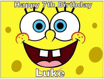 """SpongeBob SquarePants Personalised Cake 7.5/"""" Topper Edible Wafer Paper"""