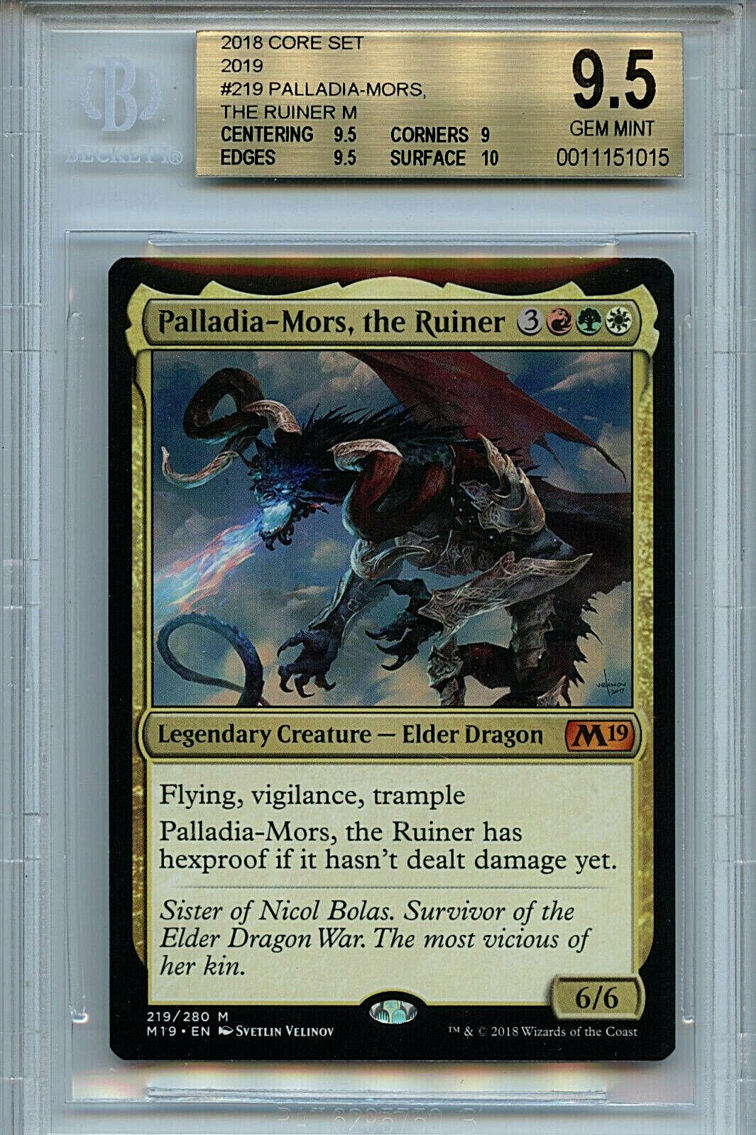 MTG Palladia-Mors Ruiner BGS 9.5 Gem Mint M19 Core Set Magic Autod Amricons 1015