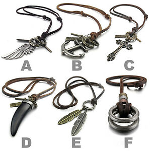 MENDINO-Men-Alloy-Leather-Pendant-Necklace-Anchor-Wing-Cross-Tooth-Feather-Rings