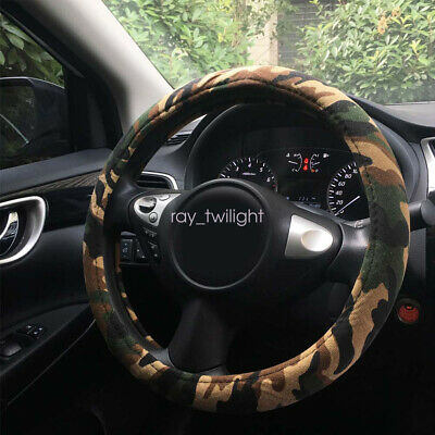 Camouflage Car Steering Wheel Cover Fit for Most Cars Steering Cover Auto Interior Accessories Anti Slip,Tree bark