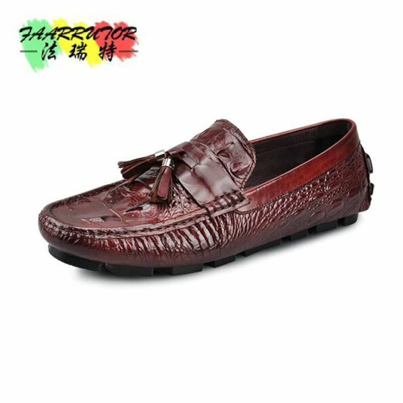 Men's Casual Crocodile Genuine Leather Boat shoes Slip-on Velvet Loafers Moccasi