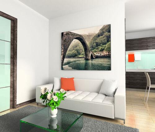 120x80cm Leinwandbild auf Keilrahmen Magdalenenbrücke Teufelsbrücke Italien