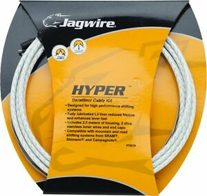 Jagwire-Bremszugset-Hyper-L3-weiss-geflochten-Innenzuege-Aussenhuelle-Endkappen