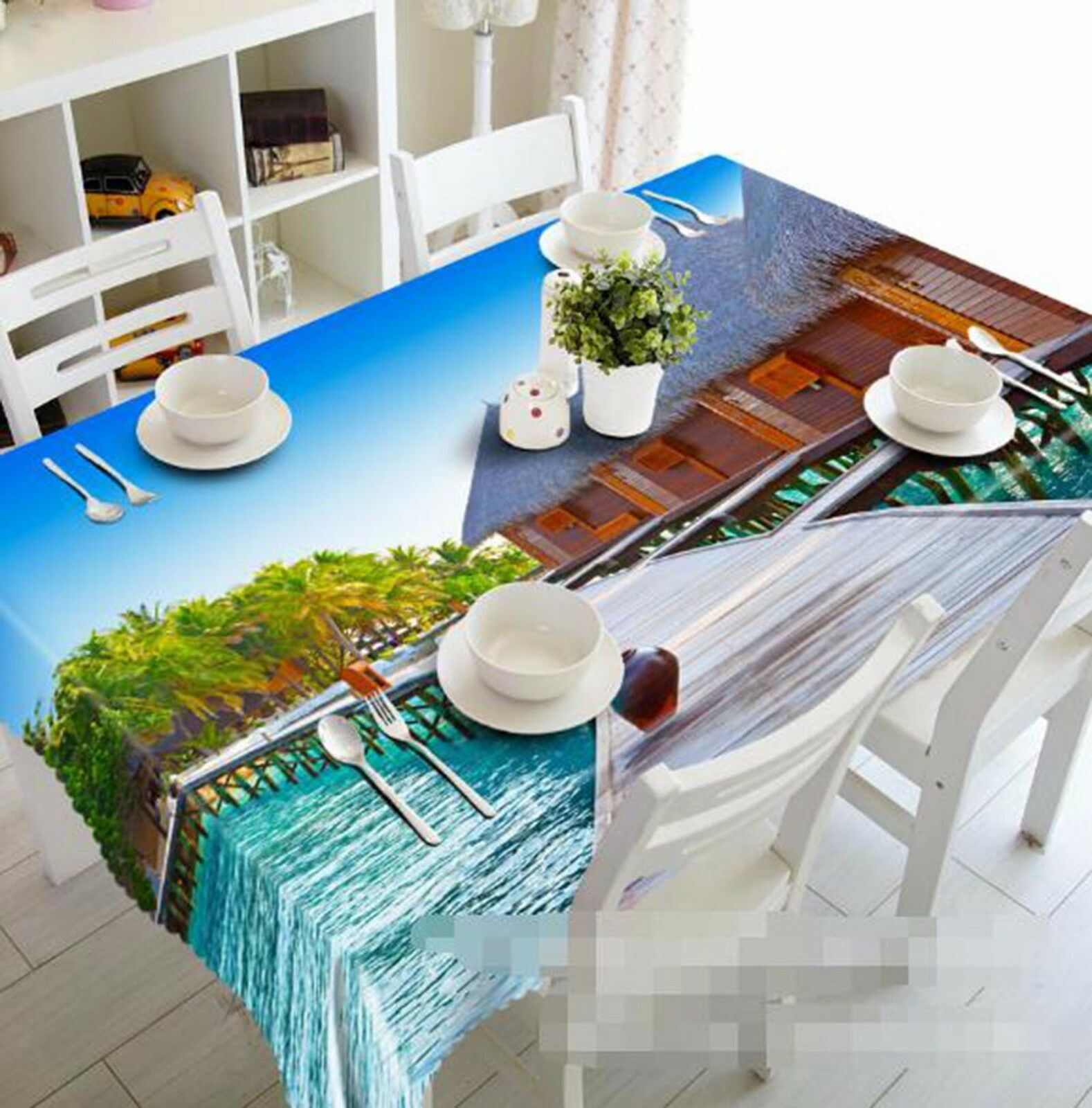 3D House Sea 6 Tablecloth Table Cover Cloth Birthday Party AJ WALLPAPER Lemon