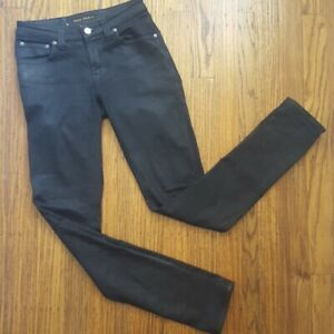 Nudie-Skinny-Sam-Womens-Jeans-Sz-26-Black-Black-Coated-Organic-Cotton