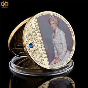Wales-Diana-Princess-Rose-With-Diamond-Gold-Plated-Commemorative-Coin-Collection