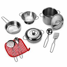 Playkidz: Super Durable 11 Piece Stainless Steel Pots and Pans Cookware Playset