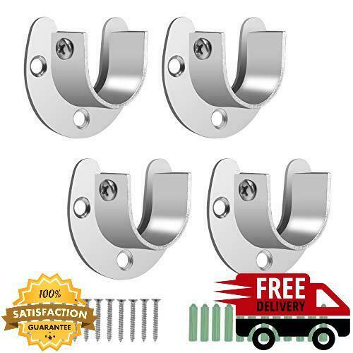 Stainless Steel Closet Pole Sockets Heavy Duty Rod End Supports U Shaped Flange