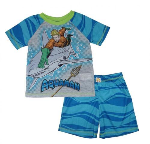 Aquaman Boys Two-Piece Screen-Print Pajama Short Set Size 4//5 6//7 8 10//12