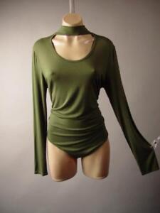 Olive-Green-Choker-High-Neck-Plus-Jersey-Top-Leotard-262-mv-Bodysuit-XL-2XL-3XL