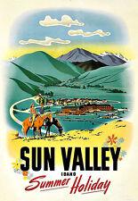 Art Ad Sun Valley Idaho Summer Holiday  Travel Deco Poster Print
