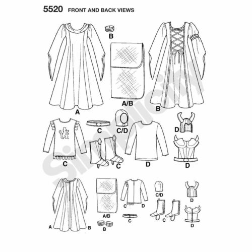 NEW OOP SIMPLICITY RENAISSANCE KIDS PRINCESS/& KNIGHTS COSTUME PATTERN 5520 sz3-8