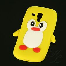 Samsung Galaxy S Duos S7562 Silikon Case Schutz Hülle Etui Pinguin Cover Gelb